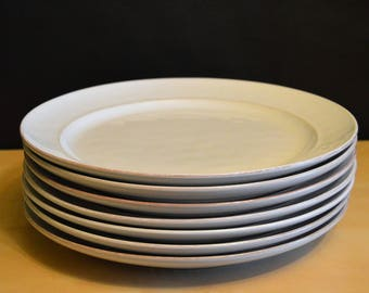Set of 7 Cambria Stone White Pottery Barn 11.5  Dinner Plates Made in Portugal Rustic Off-White Heavy & Off white plate   Etsy