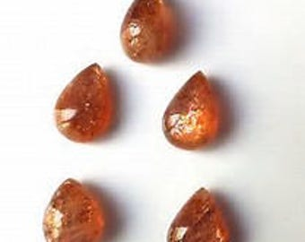 10 Pieces Natural Sunstone  pear shape cabochon calibrated size