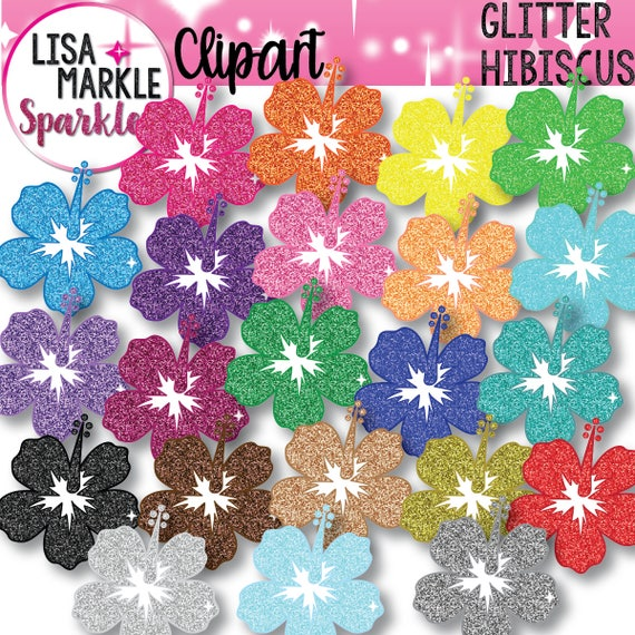 Rainbow Glitter Clipart Hibiscus Flower Beach Summer ...