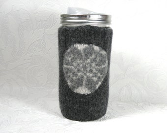 canning jar travel mug with pocketed cozy - pint-and-half size