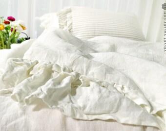 Shabby chic linen comforter cover with ruffles - Milk white doona cover- Antique white romantic duvet cover-  light  linen handmade duvet