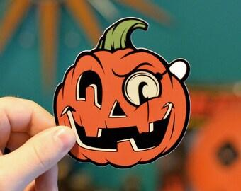 Retro Halloween Hooligan Jack O Lantern Sticker