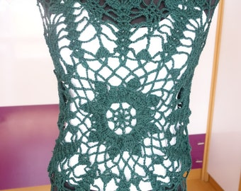 Green Mandala Crochet Design T-shirt