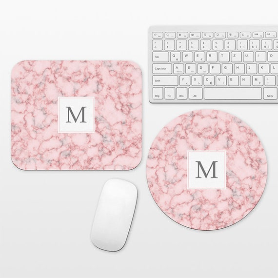 Pink Marble Monogram Mouse Pad Custom Mousepad Personalized Letter Initial Mouse Mat Round Circle Rectangular Cute Unique Mouse Pad for Her