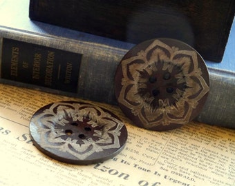 5 pcs LARGE Huge Big Painted Dark Brown Wood Buttons 6cm over 2 inch (WB893)