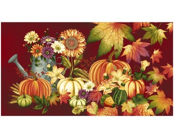Autumn Album~Thanksgiving Fall Panel 23in x 44in Cotton Fabric By Henry Glass