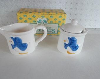 Vintage Farmhouse Sugar And Creamer Ceramic Chickadees