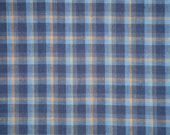 Plaid Fabric | Homespun Fabric |  Woven Cotton Fabric | Home Decor Fabric | Rag Quilt Fabric | Medium Plaid Navy, Blue and Khaki Fabric