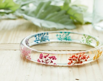 Rainbow Flower Bangle - Rainbow Lace Flowers - Skinny Stacking Bangle - Resin Bangle , Stacking Bangle , Gifts for Her , Real Flower Jewelry