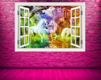Full Colour Unicorn Window Wall Art Sticker Decal Transfer Graphic Print Girls Bedroom Decor Wall Feature Decals Unicorns Stickers WSDW25