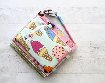 Ice cream bag - cute pencil pouch - ice cream planner cover - gift for girlfriend - Ice cream zipper pouch - cute planner band