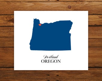Oregon State Love Map Silhouette 8x10 Print - Customized