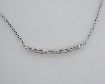 14k White Gold Bar Diamond Necklace, Diamonds, Gold, Bridesmaid, Gift, Dainty, Promise, Modern, Ladies, Luxury, Luxuria