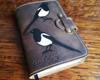 Leather Journal, leather travel journal, sketchbook, notepad, magpie, nature, two for joy, 3rd anniversary, leather book, artist sketchbook