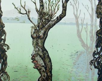 Original art,  Fantasy ART Fairy dryad Tree wood block print reductive awakening spring 14 x 20