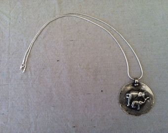 Vintage Indian Sterling Silver Necklace with Elephants