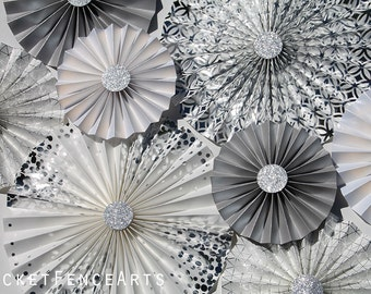 White and Silver Paper Rosettes, Paper Fans Backdrop, Wedding Backdrop, Wedding Decor, Bridal Shower, Metallic, Shimmer, Silver and White