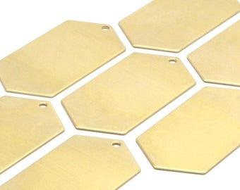 8 Raw Brass Hexagon Blanks (23x44.5x0.80mm) D424
