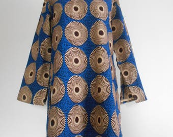 Esemble wax T38/40, Blouse, long sleeve tunic and pants in wax (Ankara)