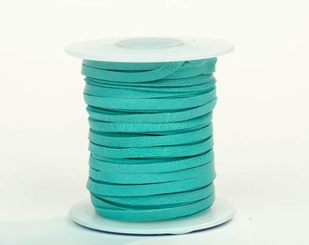 Turquoise Deerskin Lacing - (1) 50 foot spool, 1/8th inch lace (297-18x50TQ)