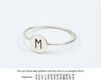 Round Initial Ring, Dainty Letter Ring, Personalized Ring, Alphabet Ring, Moms Ring, Stacking Ring, Initial Ring, Silver Ring, Hand Stamped