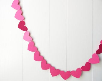 Valentines Ready To Ship Shimmer Hot Pink Heart Garland / Wedding Decoration / Love Bunting /  Photo Prop / Adjustable Hand Sewn