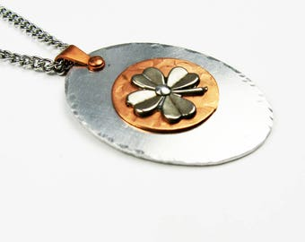 Four Leaf Clover Necklace with Pendant on Steel Chain - Lucky 4-Leaf Clover Jewelry for Good Luck - St. Patricks Day