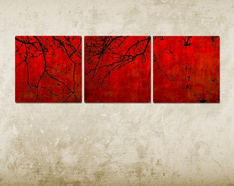"""Abstract Japanese Nature METAL triptych 54x18"""" FREE SHIPPING"""