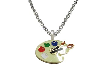 Detailed Art Palette Pendant Necklace