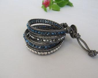 Navy Blue Wrap Bracelet, 4 x Wrap Bracelet, Denim Blue w/Dark Gray Bracelet, Blue Wrap Bracelet, Boho Chic Wrap Bracelet, Bohemian Jewelry