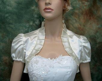 Ivory short sleeve satin bolero wedding bolero jacket shrug