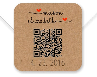 Save The Date custom QR Code label- 2 inch square, brown kraft, white label, wedding stickers, engagement sticker, Save The Date - SET OF 20