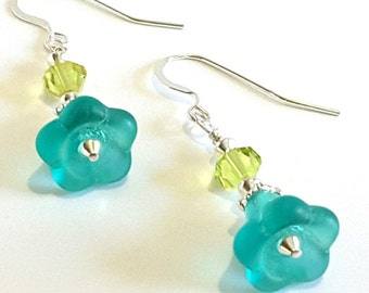 Aqua Blue Floral Earrings, Lime Green Faceted Crystal and Sterling Silver Earrings, Beaded Blue Flower Earrings, Handmade Jewelry