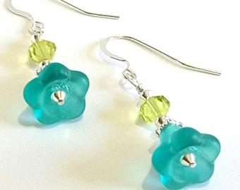 Aqua Blue Floral Earrings, Lime Green Faceted Crystal and Sterling Silver Earrings, Beaded Blue Flower Earrings, Handmade Jewelry