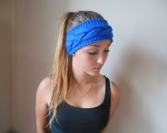 Knit Cable Headband  Ear Warmer Head Warmer Cobalt Choose Color