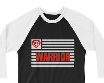 Peace Warrior Tees, Peace Sign, World Peace, Peace on Earth-3/4 sleeve raglan shirt