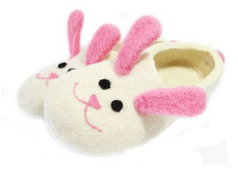 Easter Bunny White Bunny Felt Slippers Women, Felted Slippers Boiled wool women slippers Pink Bunny slippers felted clogs Cute Gifts For Her