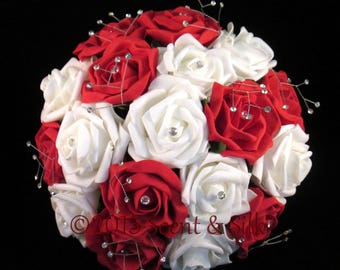 Wedding Bouquets, Brides, Bridesmaids, Red and Ivory or Red and White