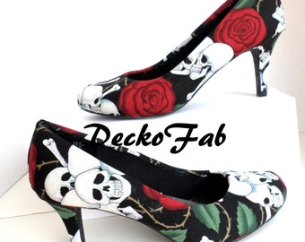 Roses and Skulls Fabric Low Heels