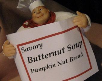 PDF Butternut  Soup Recipe / Pumpkin Nut Bread / 2 For One RECIPES on PDF/ Delight in Hearty Soup to Nutbread