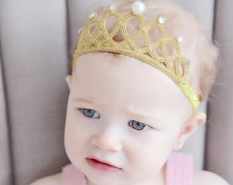 Gold Glitter Crown - Headband for Baby Girl - Birthday Crown - Tiara Headband - Photography Props - Baby Girl Headband - Gold Tiara