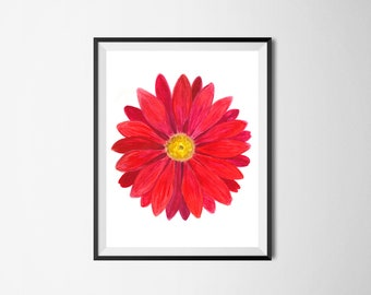 Watercolor print, Printable art, Floral wall art, Red flower print, Red Gerbera Daisy, Room decor, Kitchen decor,Floral print,Bright flower