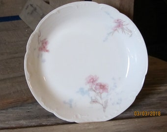 Vintage H&C Haviland Co Limoges France Pink Floral Round Vanity Pin Tray Trinket Dish