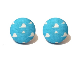 "Pixar Pals Collection ""Andy's Wallpaper"" Toy Story Cloud Wallpaper Inspired Fabric Button Earrings"