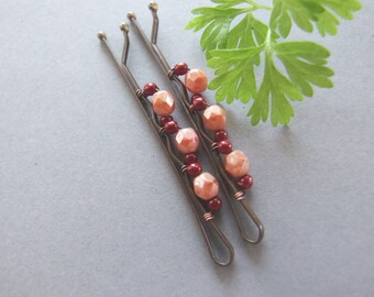 Red Poppy Bobby Pins, Hairpins with Red Beads, Sweet Poppy Bobby Pins Set - set of 2