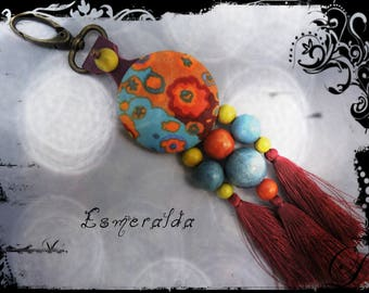 Keychain / bag ESMERALDA - Purple Leather - tassels and predominantly orange, yellow and purple fabric - beads