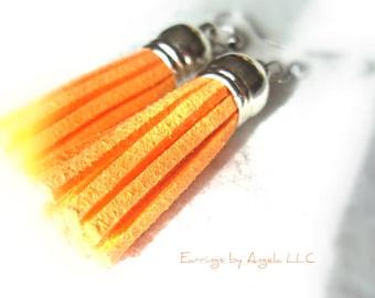 Vibrant Orange Tassel Earrings