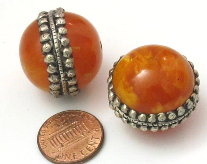 2 BEADS - Large Tibetan silver encased thick honey copal Resin focal pendant bead  - BD615A