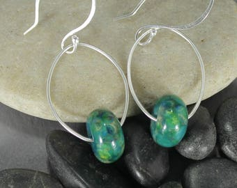 Aquatic Dangle Glass & Sterling Silver Earrings - Contemporary - Lampwork