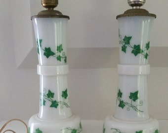 Pair of Vintage Lamps - Milk Gass with Ivy